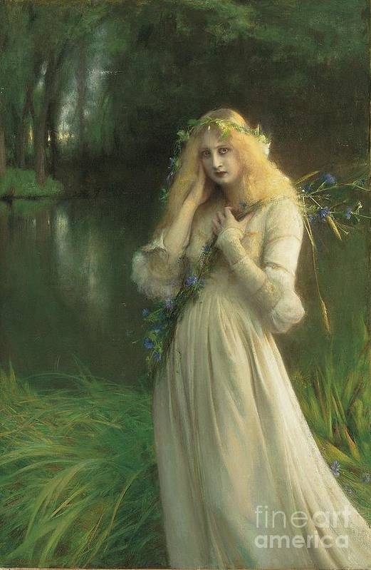 Ophelia Print featuring the painting Ophelia by Pascal Adolphe Jean Dagnan Bouveret