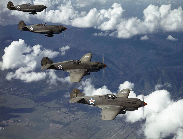 Day Print featuring the photograph P-40 Pursuits Of The U.s. Army Air by Luis Marden