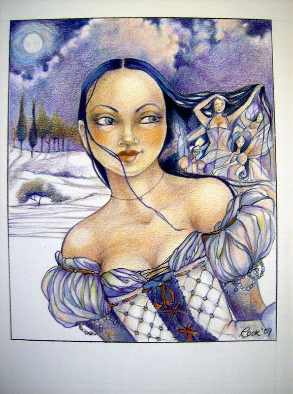 Moon Fairies Blue Snow Woman Print featuring the drawing Pandora by Jackie Rock