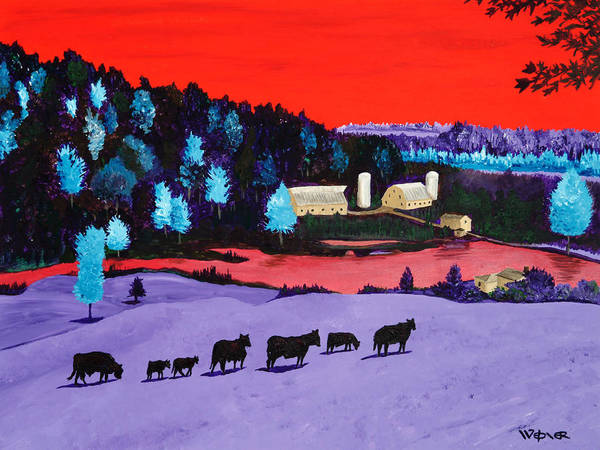 Landscape Print featuring the painting Pastures And Pond by Randall Weidner