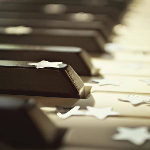 Square Print featuring the photograph Piano Keys And Stars by Photo - Lyn Randle