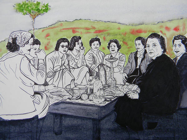 Southern Lebanon Print featuring the painting Picnic In The Mountains by Marwan George Khoury