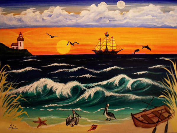 Pirate Print featuring the painting Pirate's Cove by Adele Moscaritolo