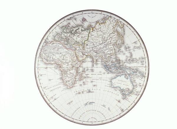 Horizontal Print featuring the digital art Planispheric Map Of The Eastern Hemisphere by Fototeca Storica Nazionale