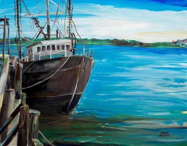 Fishing Boat Print featuring the painting Portland Harbor - Home Again by Scott Nelson