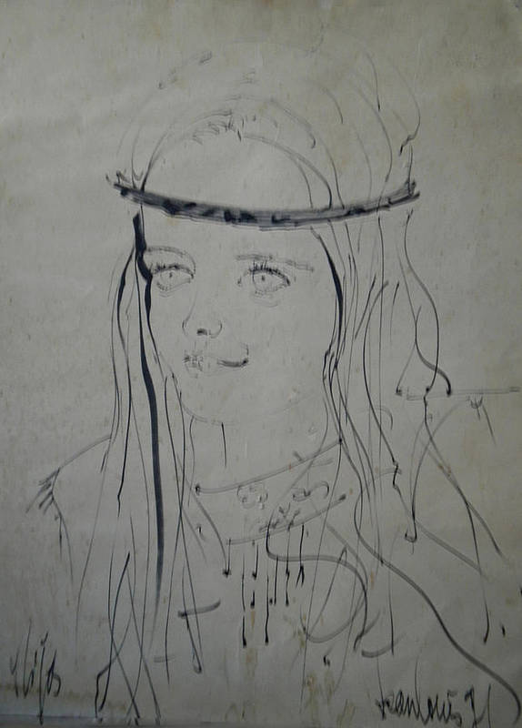 Colette Print featuring the drawing Portrait 1971 Colette by Colette V Hera Guggenheim