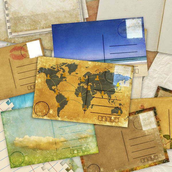 Abstract Print featuring the photograph Postcard And Old Papers by Setsiri Silapasuwanchai