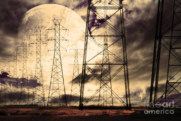 Moon Print featuring the photograph Power Grid by Wingsdomain Art and Photography
