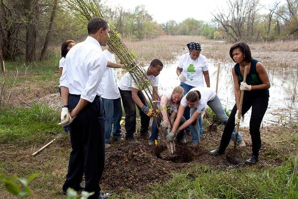 History Print featuring the photograph President And Michelle Obama Help Plant by Everett