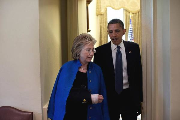 History Print featuring the photograph President Obama And Hillary Clinton by Everett