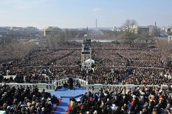 History Print featuring the photograph President Obama Delivers His Inaugural by Everett
