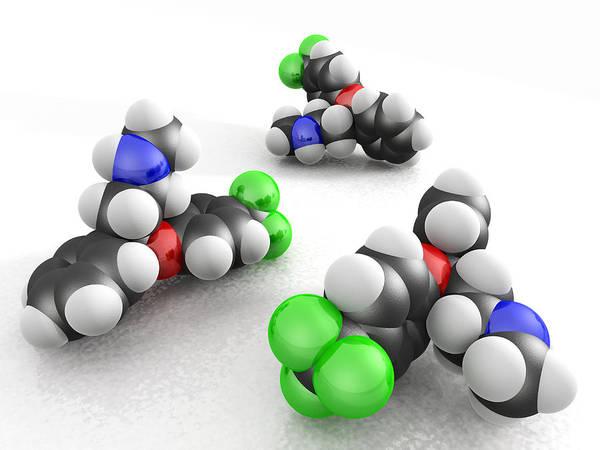 Fluoxetine Hydrochloride Print featuring the photograph Prozac Molecules by Phantatomix