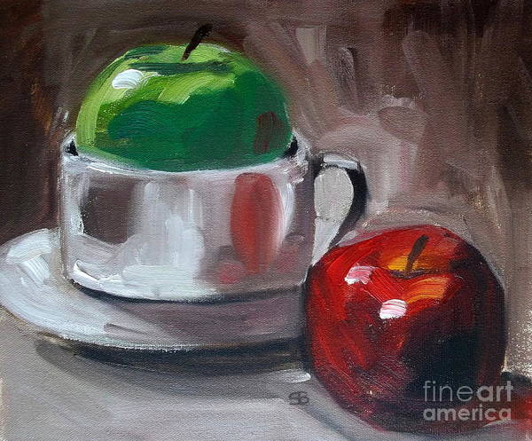 Apples Print featuring the painting Red And Green Apples by Samantha Black