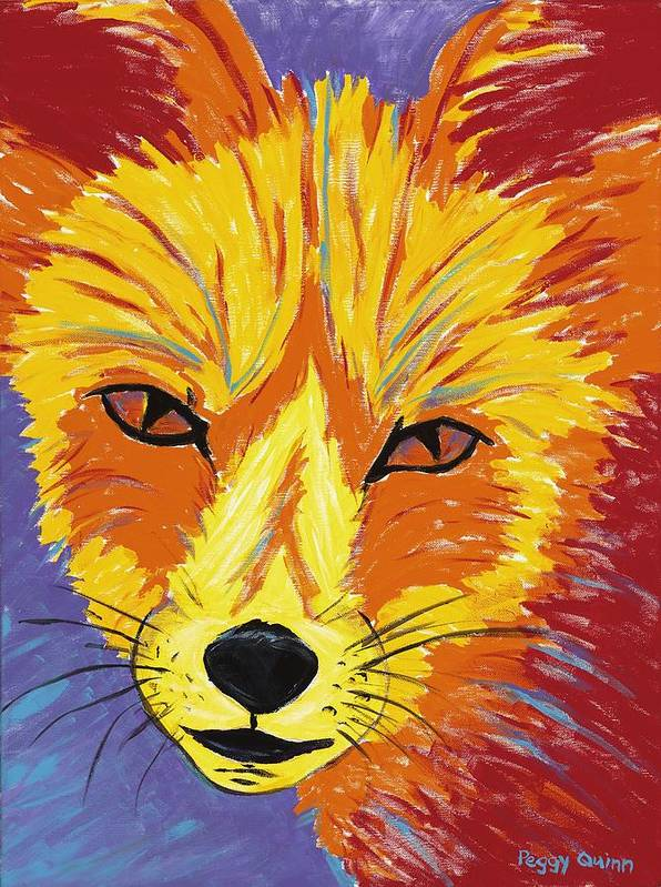 Fox Print featuring the painting Red Fox by Peggy Quinn