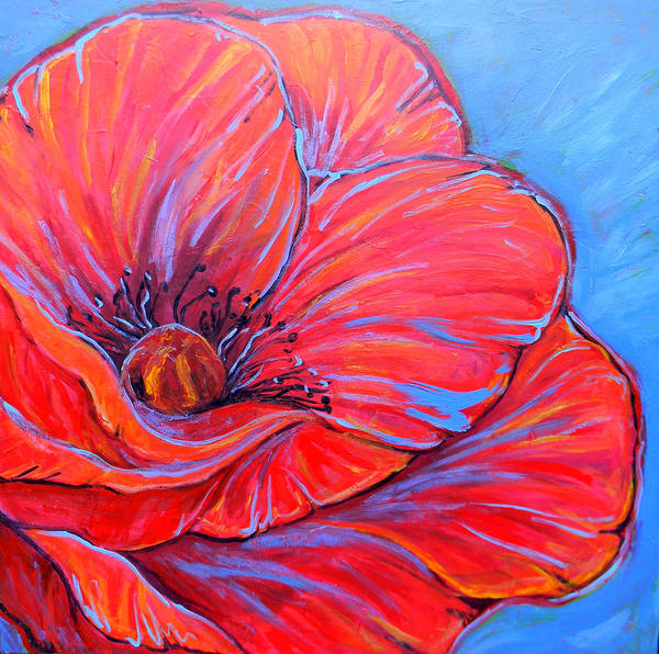 Red Print featuring the painting Red Poppy by Jenn Cunningham