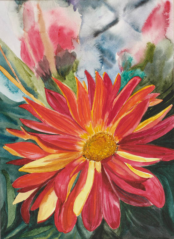 Flower Print featuring the painting Red Red Red by Judy Loper
