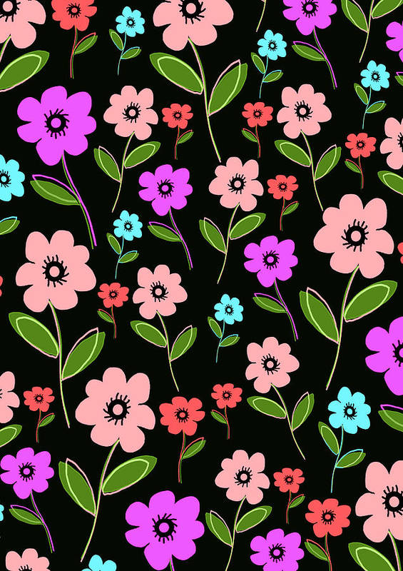 Louisa Print featuring the digital art Retro Florals by Louisa Knight