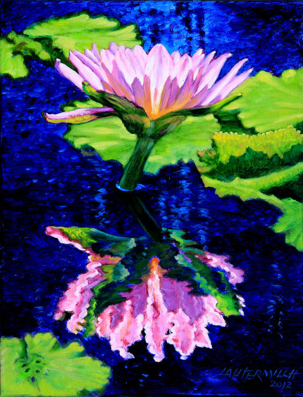 Water Lily Print featuring the painting Ripple Reflections Of Beauty by John Lautermilch