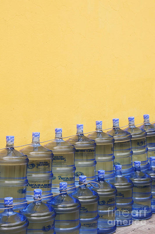 Bottle Print featuring the photograph Rows Of Water Jugs by Jeremy Woodhouse