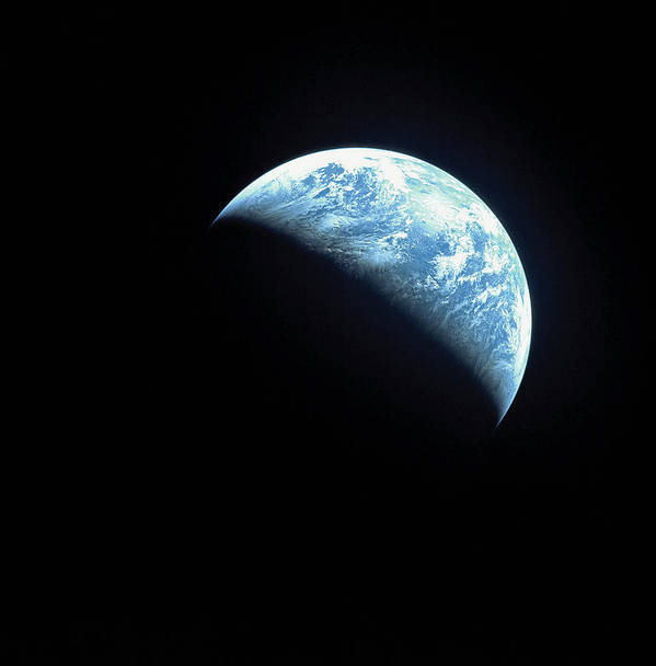 Square Print featuring the photograph Satellite View Of A Partially Hidden Earth by Stockbyte