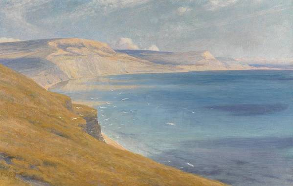 Coastal; Coast; Landscape; Seascapes Print featuring the painting Sea And Sunshine  Lyme Regis by Sir Frank Dicksee