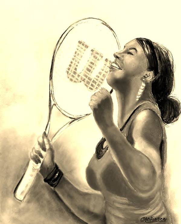Serena Print featuring the drawing Serena In Sepia by Carol Allen Anfinsen