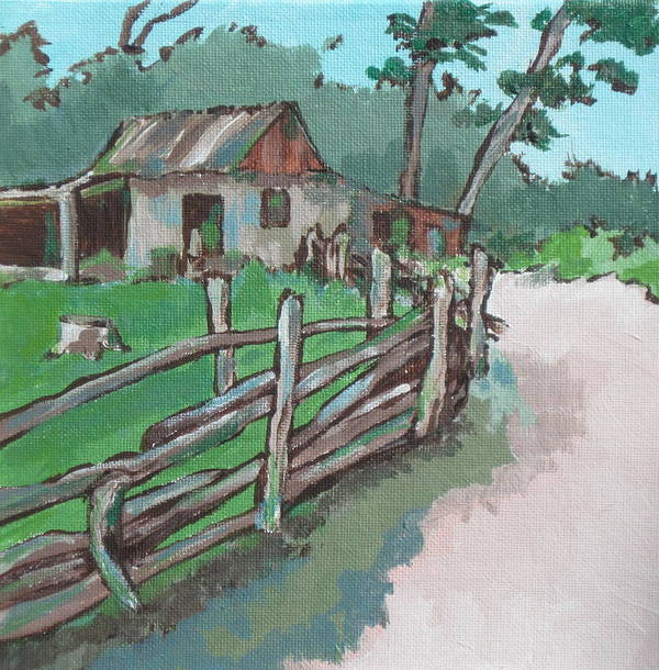 Shed Print featuring the painting Sheep Sheering Shed by Sandy Tracey