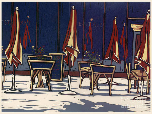Limited Edition Print featuring the painting Sidewalk Cafe - Linocut Print by Annie Laurie