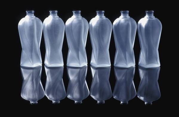 Background Print featuring the photograph Six Glass Bottles by David Chapman
