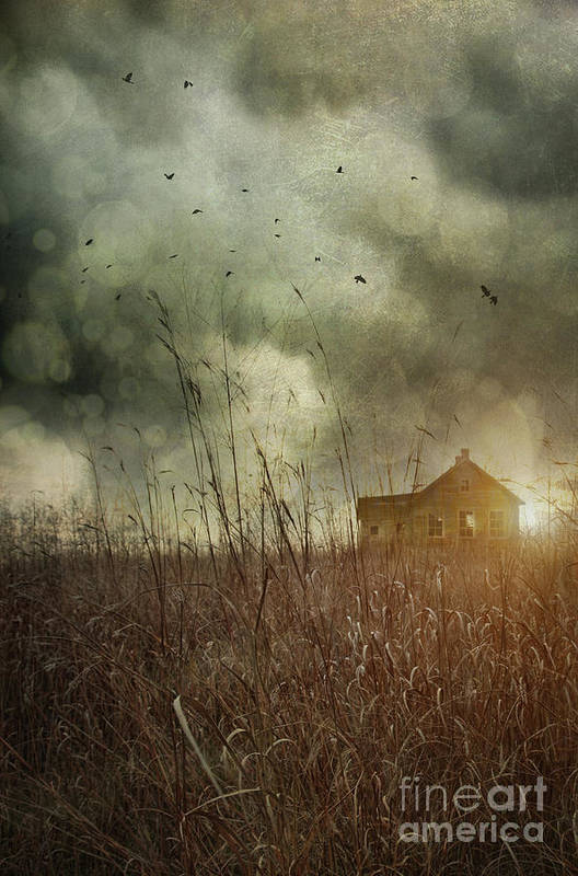 Abandoned Print featuring the photograph Small Abandoned Farm House With Storm Clouds In Field by Sandra Cunningham