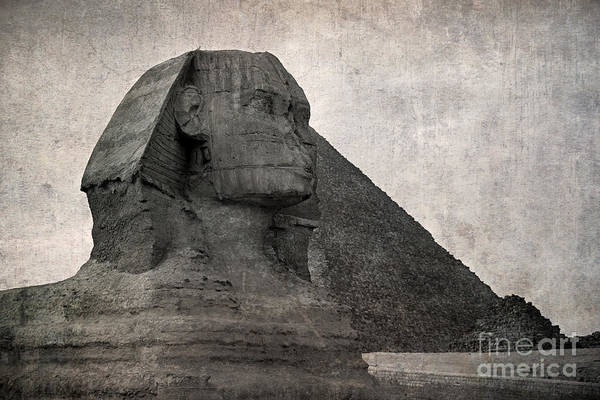 Africa Print featuring the photograph Sphinx Vintage Photo by Jane Rix