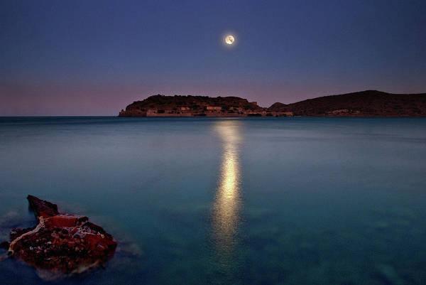 Horizontal Print featuring the photograph Spinalonga Full Moon by Christos Tsoumplekas