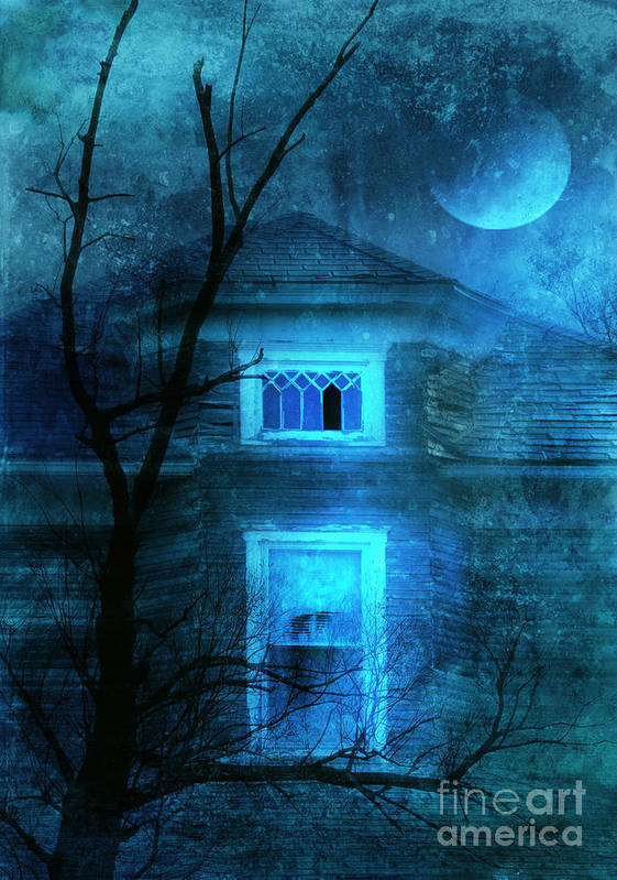 House Print featuring the photograph Spooky House With Moon by Jill Battaglia