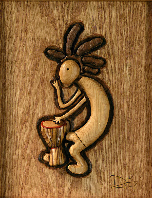 Kokopelli Print featuring the relief Spring Jam B by David Taylor