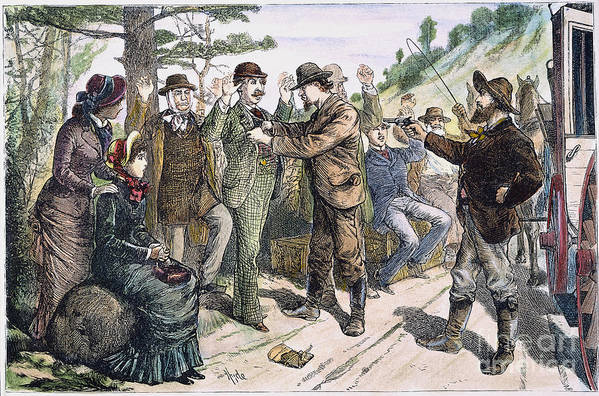 1880s Print featuring the photograph Stagecoach Robbery, 1880s by Granger