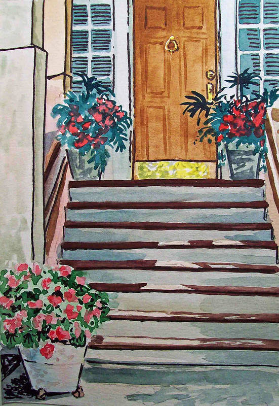Stairs Print featuring the painting Stairs Sketchbook Project Down My Street by Irina Sztukowski