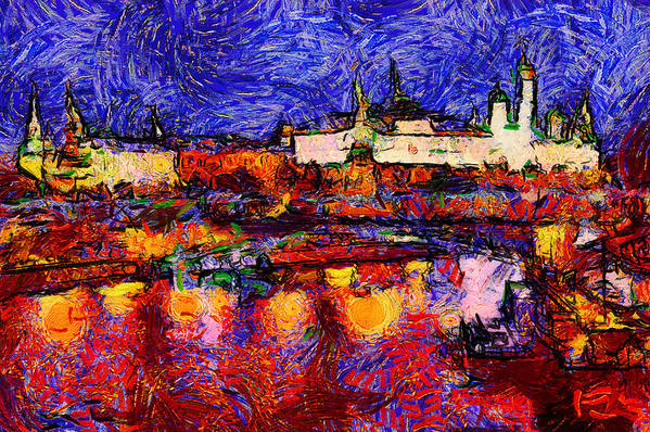 Moscow Print featuring the digital art Starry Moscow by Yury Malkov