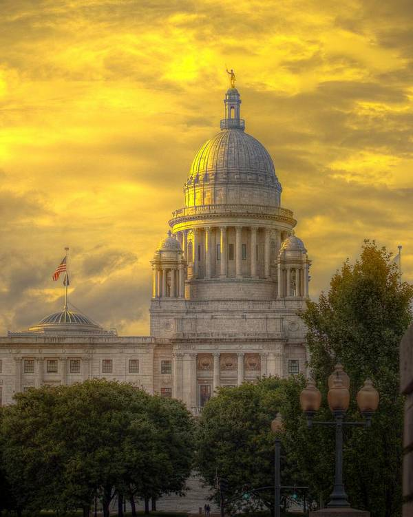 Rhode Island Print featuring the photograph Statehouse At Sunset by Jerri Moon Cantone