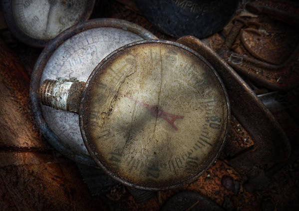 Hdr Print featuring the photograph Steampunk - Gauge For Sale by Mike Savad