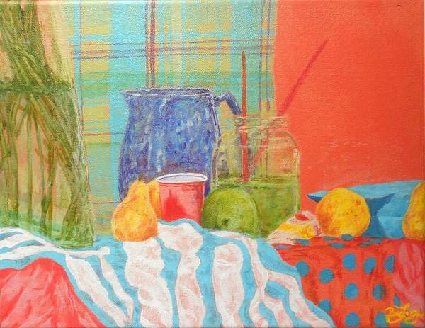 Acrylics Print featuring the painting Still Life With Pears by Ben Leary