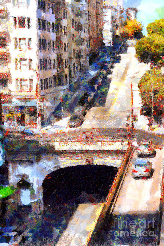 San Francisco Print featuring the photograph Stockton Street Tunnel San Francisco . 7d7499 by Wingsdomain Art and Photography