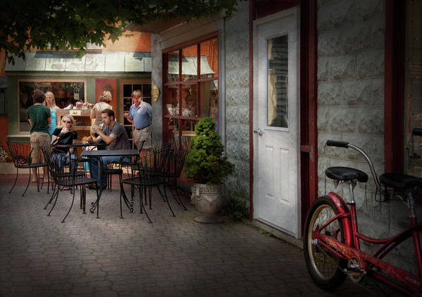 Hdr Print featuring the photograph Storefront - Frenchtown Nj - At A Quaint Bistro by Mike Savad