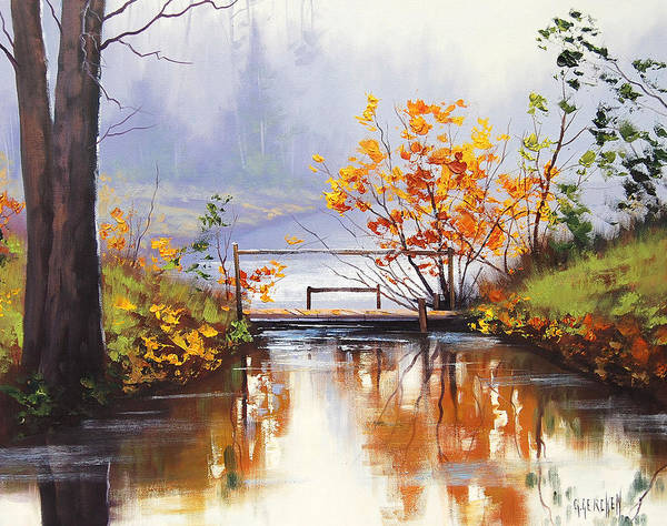 Fall Print featuring the painting Stream Crossing by Graham Gercken