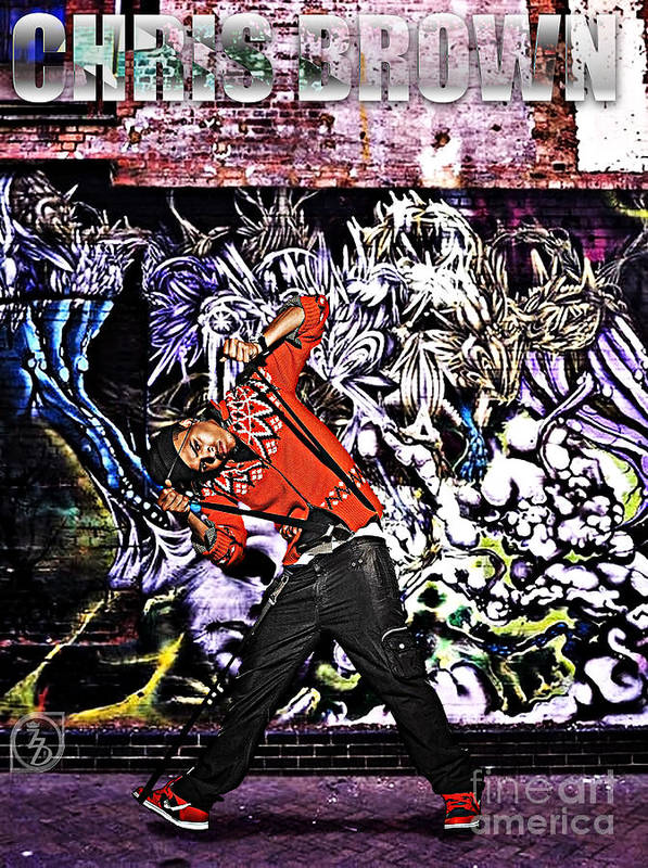 Chris Brown Print featuring the digital art Street Phenomenon Chris Brown by The DigArtisT