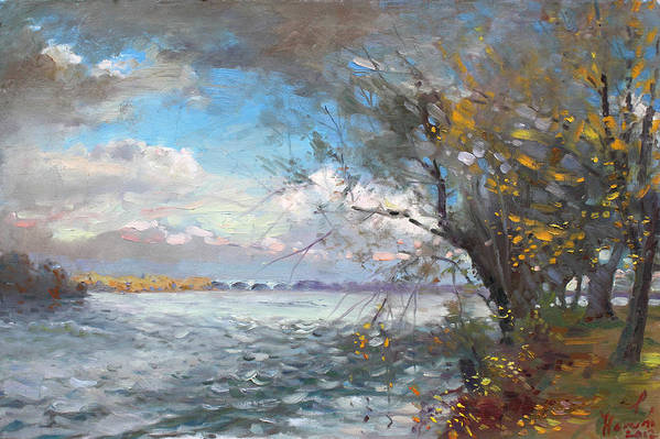 Fall Print featuring the painting Sun After Storm by Ylli Haruni