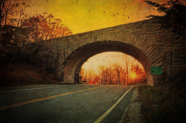 Sunset Print featuring the photograph Sunset On Blue Ridge Parkway by Kathy Jennings