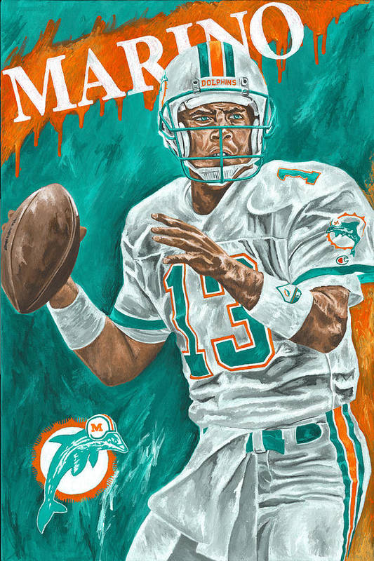 Dan Marino Miami Dolphins Football Quarterback Sports David Courson Print featuring the painting Surveying The Field by David Courson