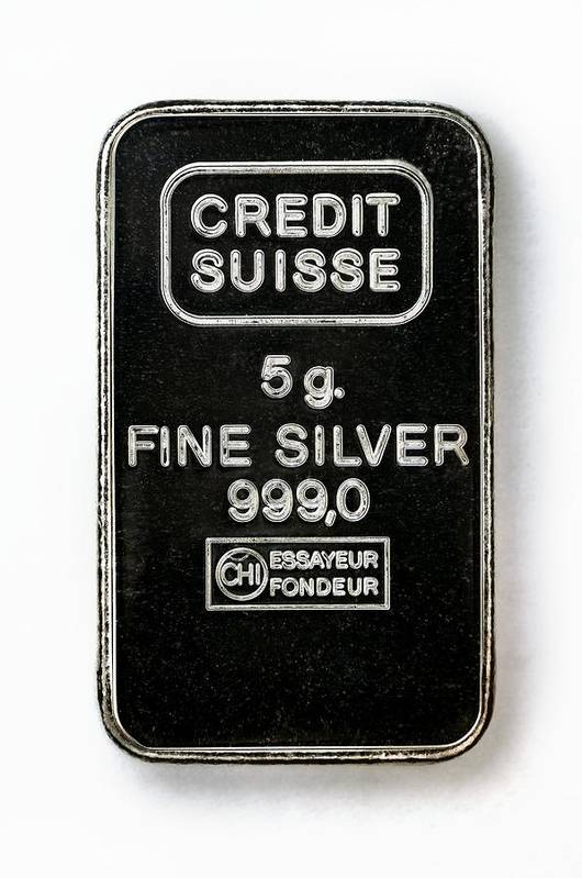 Silver Print featuring the photograph Swiss Silver Bar by Laguna Design