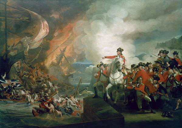 The Defeat Of The Floating Batteries At Gibraltar Print featuring the painting The Defeat Of The Floating Batteries At Gibraltar by John Singleton Copley