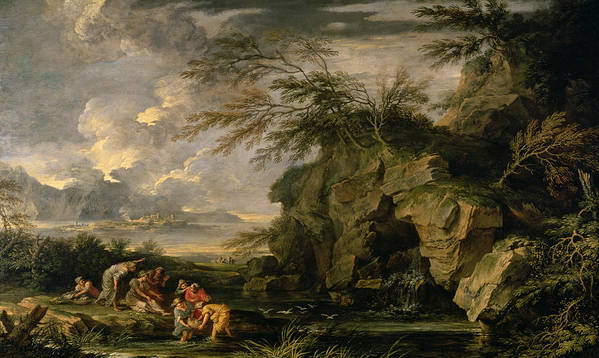 The Print featuring the painting The Finding Of Moses by Salvator Rosa